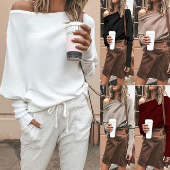 Sweater Sexy Women Sweaters Solid Color Off Shoulder Long Sleeve Sweater Loose Knitted Pullover Jumpers Female Streetwear Jumper