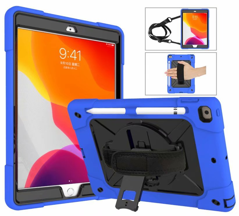 10 Gold For iPad 8th Generation Case 2020 Pencil Holder Heavy Duty Rugged Shockproof Hybrid Armor Case Hand