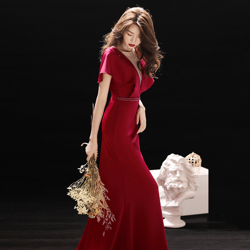 2020 Real Vestido Cocktail Gengli Toast Bride 2020 New Fishtail Wedding Party Evening Dress Women's Long Tail Autumn And Winter