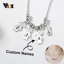 Vnox – colliers personnalisables avec noms de famille pour femmes, mignon, fille, garçon, homme, chat, Figure d'animal de compagnie, métal épais, cadeau pour sœurs et meilleurs amis