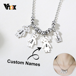 Vnox Customize Family Names Necklaces for Women Cute Girl Boy Man Cat Pet Figure Charm Pendants Thick Metal Sisters BFF Gift