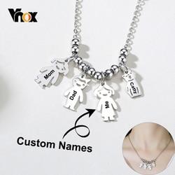 Vnox personnaliser les noms de famille colliers pour les femmes mignon fille garçon homme chat animal Figure pendentifs à breloque épais métal soeurs BFF cadeau