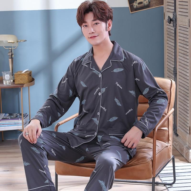 Plus Size 5XL Cotton Print Pajamas Sets For Men Autumn Winter Long Sleeve Pyjama Sleepwear Suit Male Homewear Loungewear Clothes