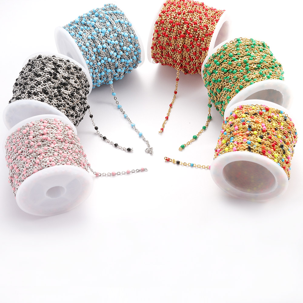 2m/lot Stainless Steel Cable Enamel Gold Chain Bulk Multicolor Link Bead Necklace Chains Diy Jewelry Chain Materials Wholesale
