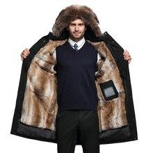 Qualité supérieure envoyer surmonter hiver Long vert vison intérieur réservoir Nick servir hommes vêtements en cuir et fourrure doudoune manteau noir