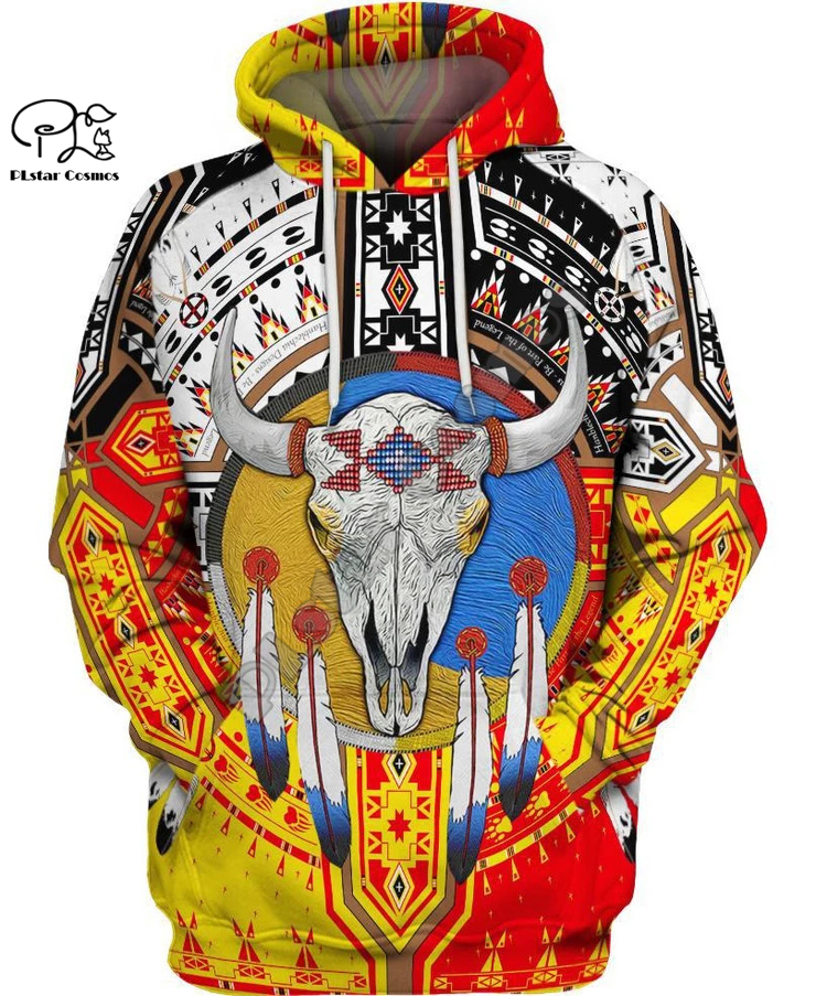 PLstar Cosmos Black Native Indian Lakota Skull 3D Hoodie Tee Men Women Fashion Hooded Sweatshirt Long Sleeve Pullover Style-14