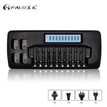 PALO 14 yuvaları LCD akıllı pil şarj cihazı için 1.2V AA AAA şarj edilebilir pil 9V Ni MH ni cd lityum iyon şarj edilebilir piller
