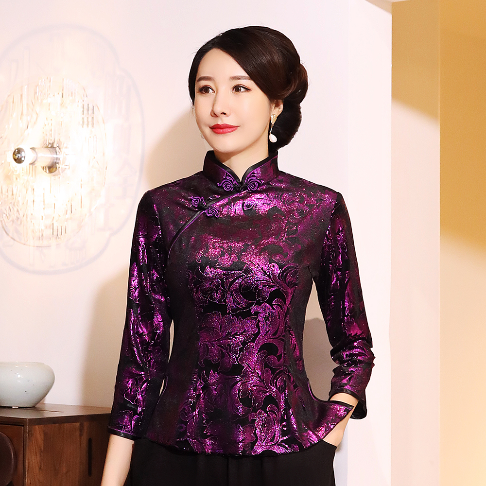 Chinese Traditional Tang Clothing Female Noble Velour Blouse Large Size 3XL-5XL Retro Tops Vintage Floral Mandarin Collar Shirt