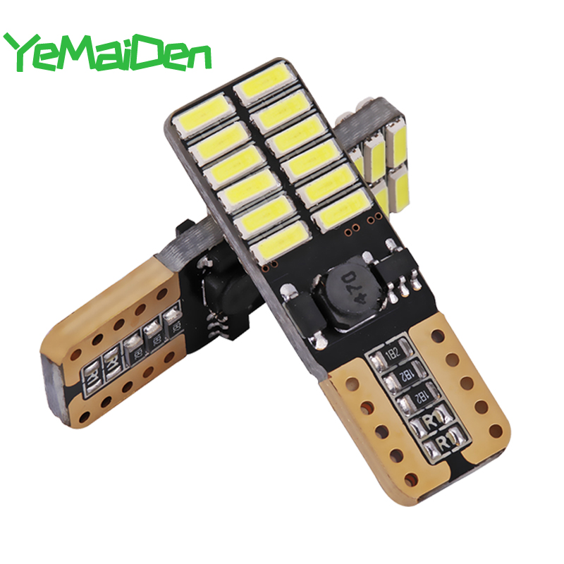 2x T10 W5W 4015 24SMD Canbus No Error LED Bulb 12V 6000K 194 168 5W5 LED Signal Light Auto Clearance Wedge Side Lamps White