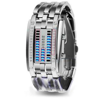 Electronic Watch Stainless Steel Bracelet Watch Men Women Iron Samurai Metal LED Faceless Digital Wristwatches