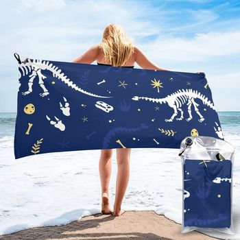 Szybkoschnący ręcznik plażowy niebieski wzór dinozaur ręcznik kąpielowy z mikrofibry poduszka plażowa pływanie spersonalizowany ręcznik plażowy bez piasku tanie i dobre opinie CN (pochodzenie) RĘCZNIK KĄPIELOWY Other Rectangle można prać w pralce mikrofibra PRINTED