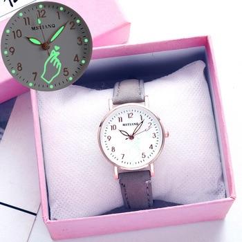 Fashion Simple Ladies Wrist Watches Luminous Women Watches Casual Leather Strap Quartz Watch Clock Montre Femme Relogio Feminino