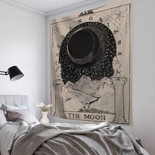 Tapiz de Mandala con tarjeta de Tarot, colgante de pared de astrología, adivinación, brujería, decoración de habitación, colcha, cubierta de sol, Luna, decoración de pared
