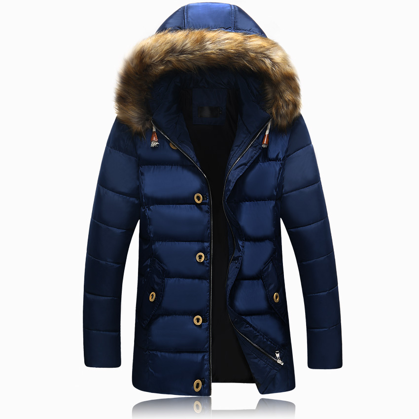 Winter Thick Casual Long Jacket Men Fur Collar Hooded Waterproof Manteau Homme Hiverv