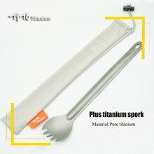 TiTo Титановая Ложка с длинной ручкой, посуда, портативные походные столовые приборы, удобные титановые Spork, Экологичная титановая вилка