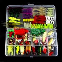 Señuelo giratorio mixto Minnow luminoso Crankbait señuelos de gancho Kit cebo Artificial Señuelos de Pesca conjunto Pesca cebo aparejo en caja