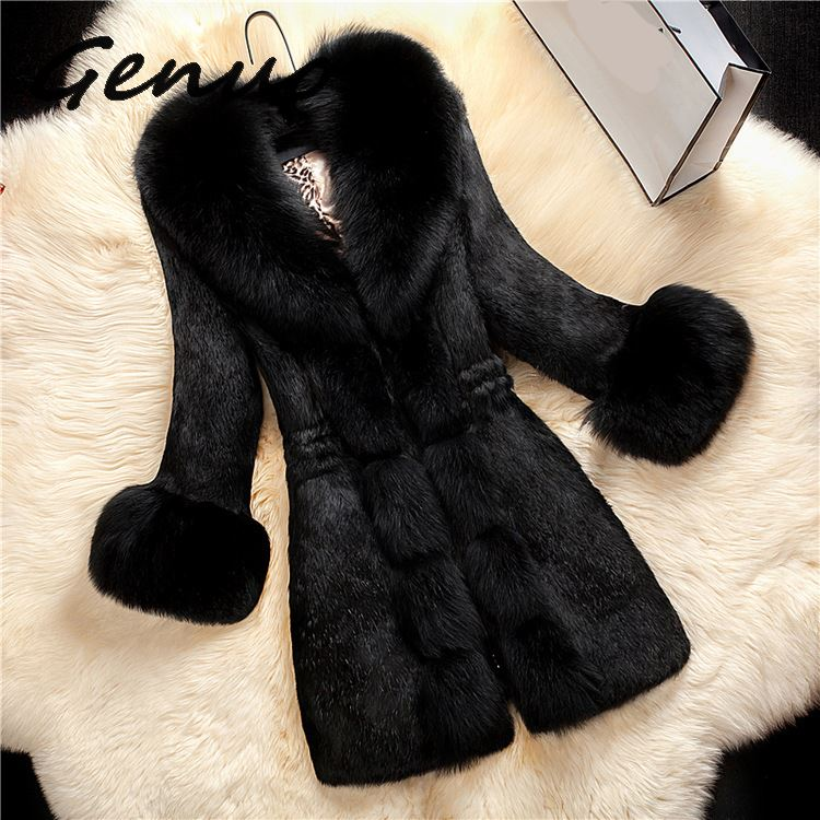 2019 New Arrival Women Long Sleeve Solid Overcoat Elegant Turn-Down Collar Warm Coat Casual Winter Faux Fur Thick Long Outwear