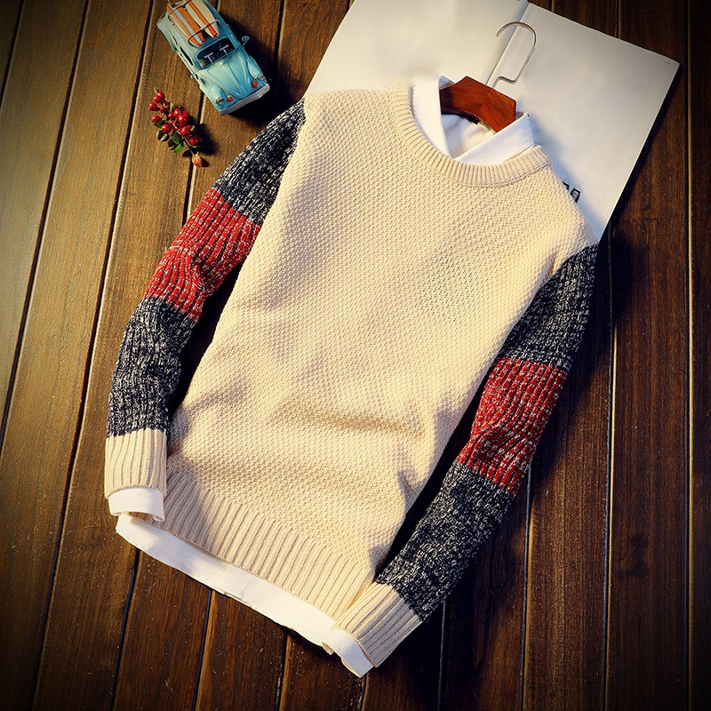 Men Sweater Vintage Long Sleeve Knitwear Pullover Tops Round Neck Sweater Splice Slim Men's Jumper