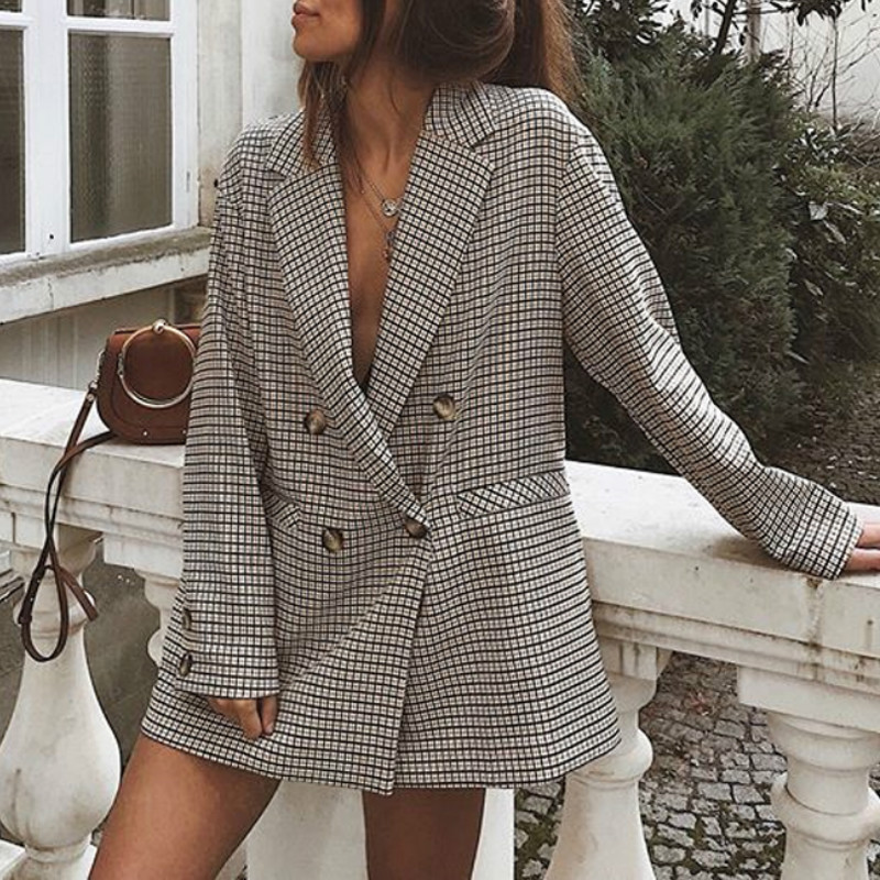 Elegant Plaid Blazer Dress Winter Autumn Women Long Sleeve Oversized Jacket Office Lady Wrap Bodycon Casual Streetwear GV781
