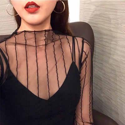 패션 블랙 섹시한 여성 긴 소매 메쉬를 통해 투명 파티 Clubwear 나이트 셔츠 탑스 2019 셔츠 티셔츠 레이스