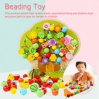 Learning Education Wooden Toys Cartoon fruit tree Fruit Beads Educational Toy For Children Birthday gift