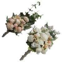 Водопад стиль деревенский Искусственный Пион свадебный букет Искусственные растения каскадные цветы с искусственным жемчугом Свадебная в...