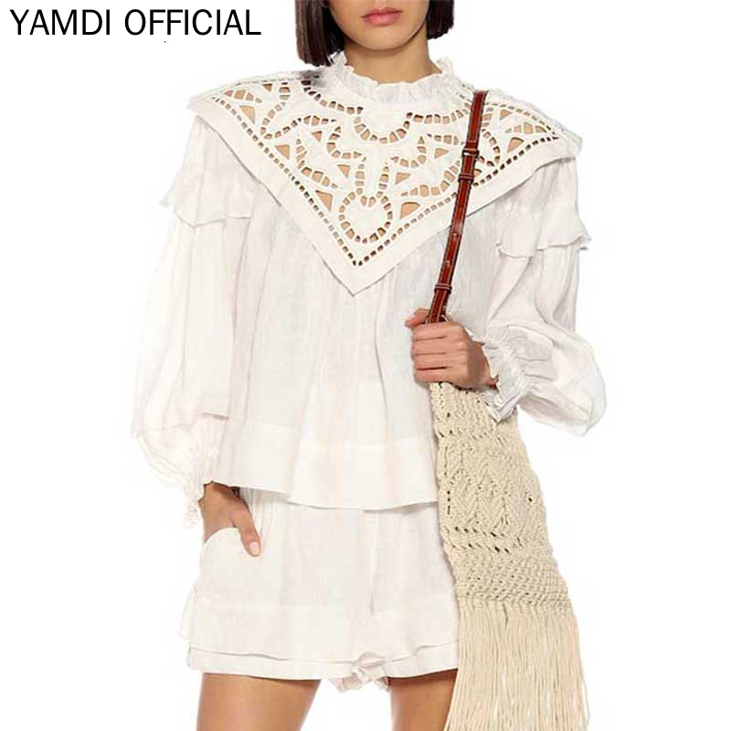 YAMDI Women Blouse Bohemian Autumn Winter Long Sleeve High Quality Vintage Loose Solid White Tops Long Ruffle Sleeve Shirt Lace