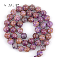 Natural Gem Charoite Round Stone Beads For Jewelry Making 6/8/10/12mm Loose Spacer Diy Bracelet Necklace 15 Wholesale