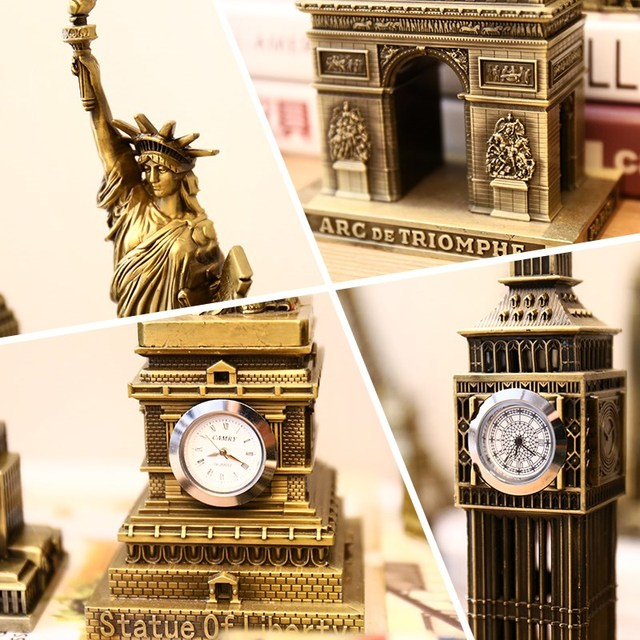 ERMAKOVA Metal World Famous Building Architecture Model Statue Landmark Tourist Souvenir Home Office Decoration 3