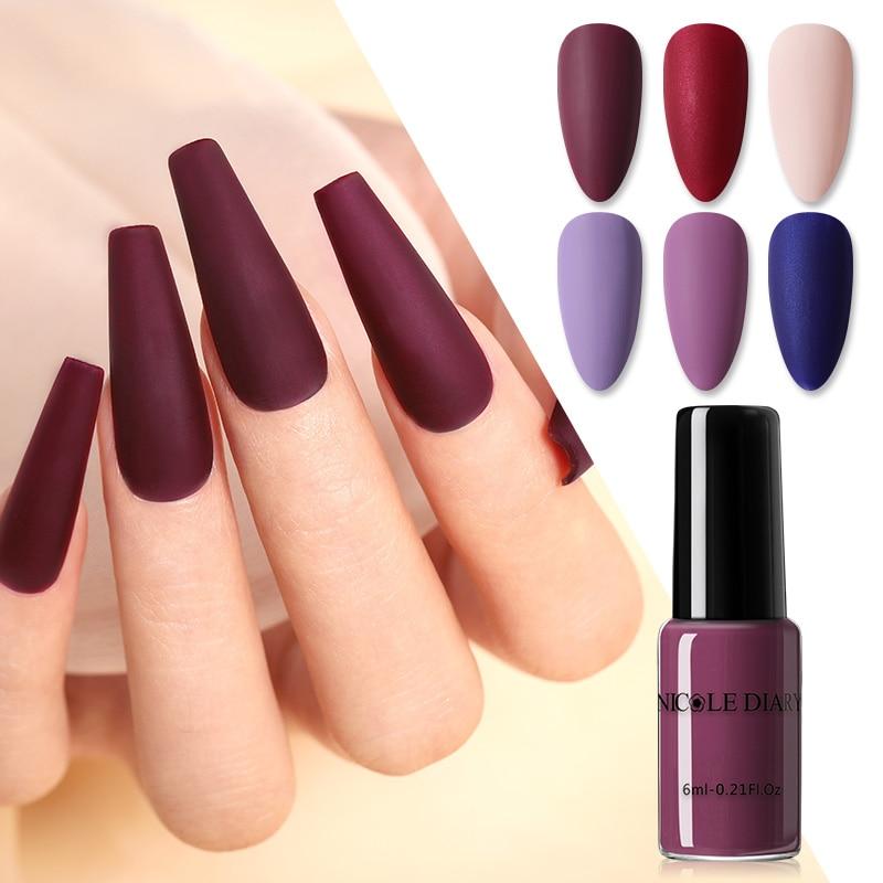 Николь дневник матовый лак для ногтей фиолетовый цвет Красного Вина телесного цвета лак для нейл-арта коврик для ногтей украшение аксессуа...