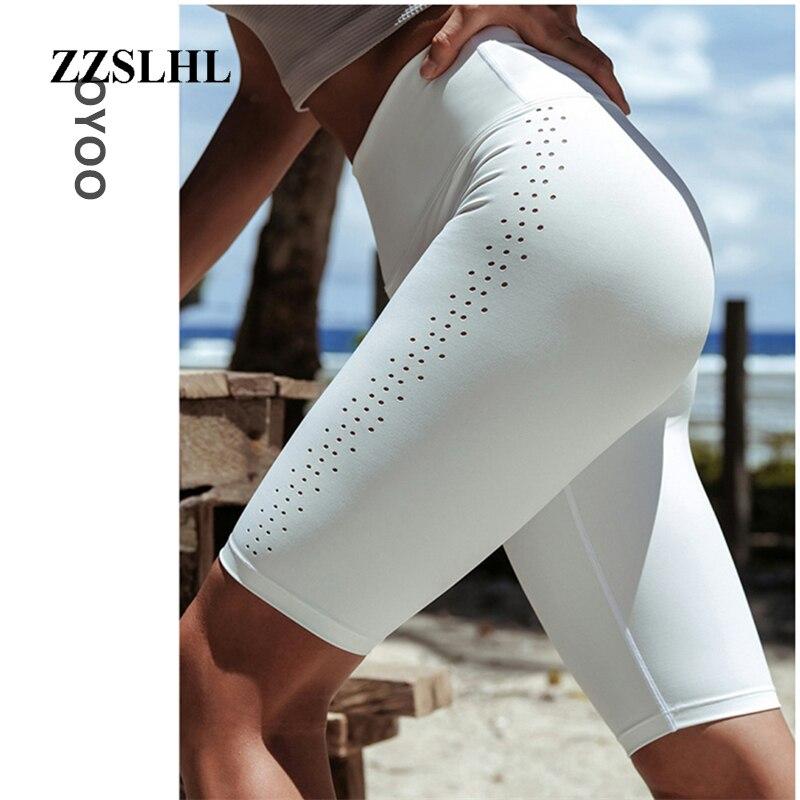 Waist White Yoga Running Shorts Popular Workout Biker Shorts Spandex Athletic Tights Gym Leggings Capri Fitness