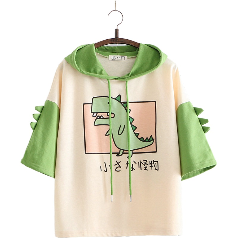 Women Dinosaur Sweatshirts With Horns Sweet Style Short Sleeve Cotton Hoodies Girls Green Hoodie Print Hooded Harajuku Pullovers