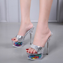 14cm High Heels Sandals Women Sexy Sandalia Feminina  Slippers Summer Zapatos De Mujer Crystal shoes  clear heels  transparency