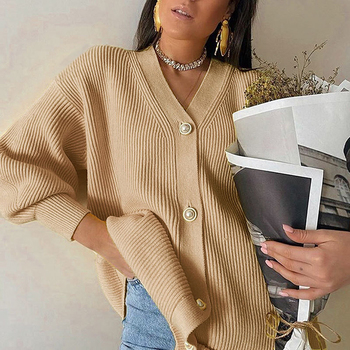 V-neck Knitted Cardigan Casual Ladies Autumn Winter Lantern Sleeve Buttons Female Fashion Ladies Oversized Sweater Cardigans xnwmnz za classic cozy pompon twist knitted cardigan women buttons v neck casual female outwear fashion autumn ladies sweater