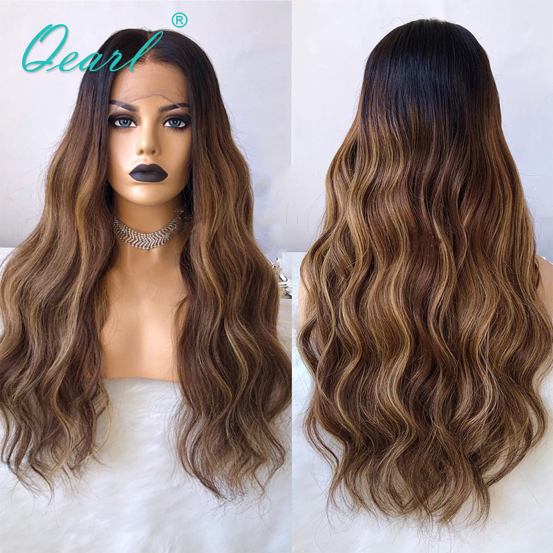 13X6 Deep Middle Part Lace Front Wig Pre Plucked With Baby Hair Ombre Blonde Highlights Human Hair Wig Body Wave Remy Hair Qearl
