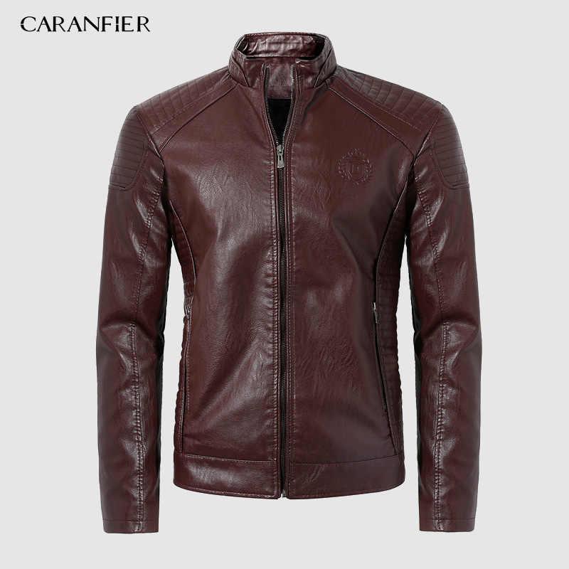 CARANFIER 2019 ชายเสื้อฤดูใบไม้ร่วงแฟชั่นฤดูหนาว PU Faux หนังแจ็คเก็ตผู้ชายคุณภาพดี Casual Slim เสื้อแจ็กเก็ตบุรุษ XXXL