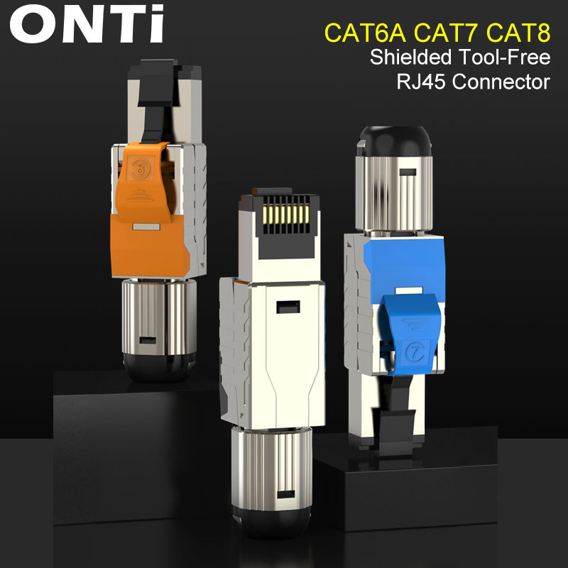 ONTi Cat6A Cat7 Cat8 Industrial Ethernet Connector RJ45 Shielded Field Plug Tool Free Easy Metal Die-Cast Termination Conector