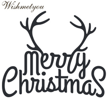 WISHMETYOU Antlers Merry Christmas Letters Shape Metal Cutting Dies Embossing Crafts Scrapbook Decorative Tools Handmade