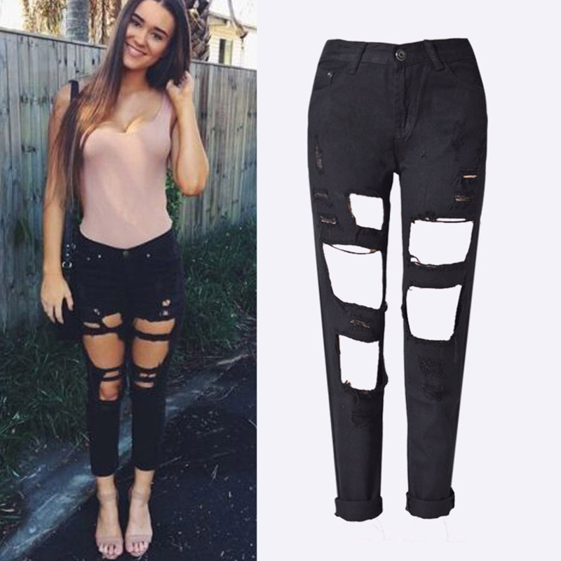 Fashion Women High Street Shredded Denim Loose Straight Pants Nine Pants Female Sexy Hollow Jeans in Jeans from Women 39 s Clothing