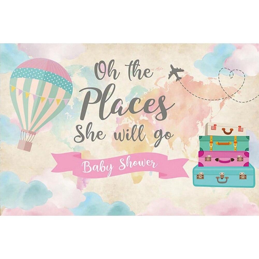 Globo de aire caliente maleta de viaje recién nacido Baby Shower fiesta de cumpleaños personalizado fondo de vinilo fotografía de fondo para estudio fotográfico