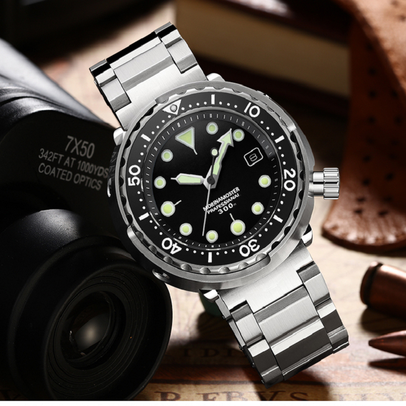 NH35 Mechanical Wristwatch 300m Dive Watch Mechanical Steel Stainless Case Sapphire Glass Automatic Watch Steel Diving