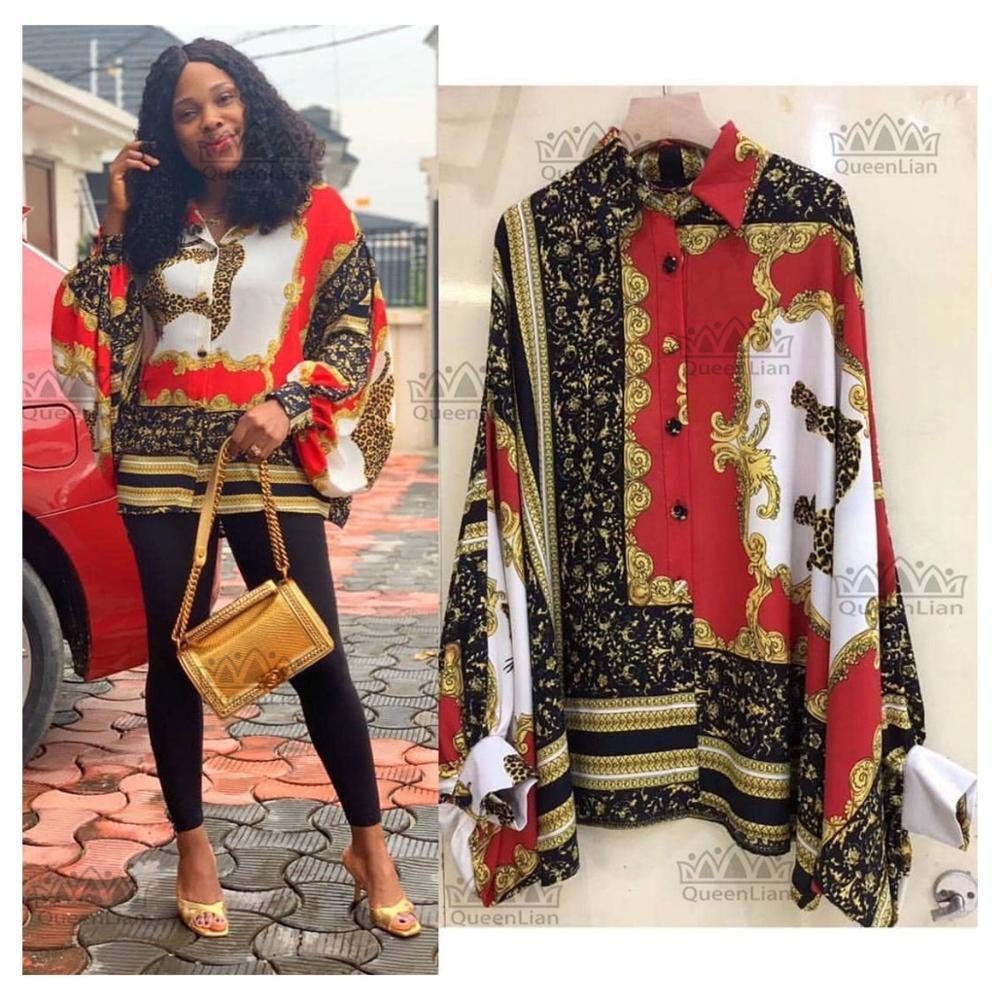 Oversized Bat Long Sleeve Shirt African Dashiki Natinality Top Chiffon Dress For Lady(China)