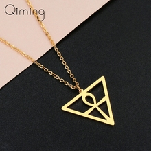 Vintage Ankh Necklace For Women Geometric Triangle Stainless Steel Men Religion Jewelry Egyptian Pendant Necklace Collier metal triangle pendant necklace