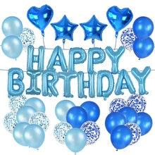 72 pçs/set Estrela Coração Foil Balões Do Feliz Aniversario Balões Rosa Azul Globos de Látex para a Menina do Menino Festa de Aniversário Decoração Suprimentos