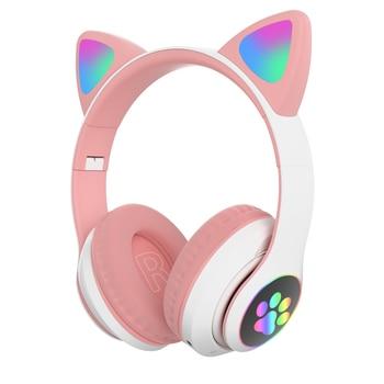 Flash Light Cute Cat Ears Bluetooth Wireless Headphone with Mic Can control LED Kid Girl Stereo Music Helmet Phone Headset Gift 11