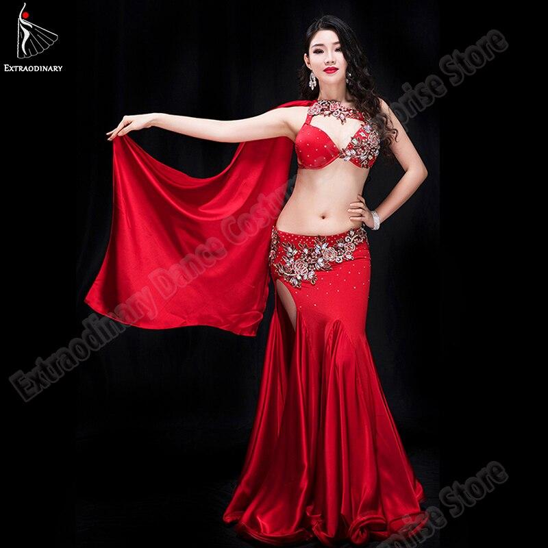 Women Bellydance Clothes Bra Skirt Carnaval Costumes Oriental Belly Dance Bra Bead Skirt Suit 2pcs Stage Performance