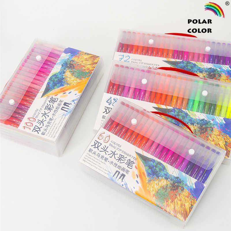48/60/72/100 Color de doble punta triangular barril suave cepillo de Color de agua pluma de dibujo fino marcador de punta de bolígrafo para arte ESSENCIAL