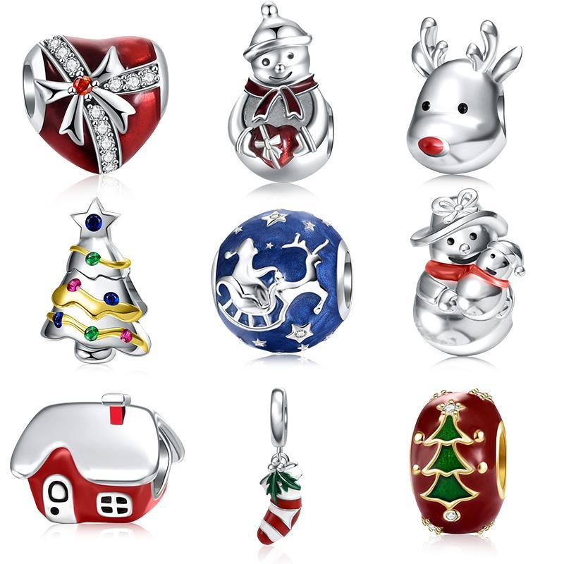 DALARAN, Рождество, Стерлинговое Серебро 925 пробы, подвески, бусины, подходит для серебра 925, оригинальный браслет Pandora, шарм, сделай сам, для женщин, хорошее ювелирное изделие, подарок|Бусины|   | АлиЭкспресс