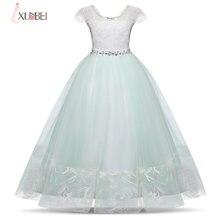 Бальное платье зеленое кружевное с цветочным узором для девочек