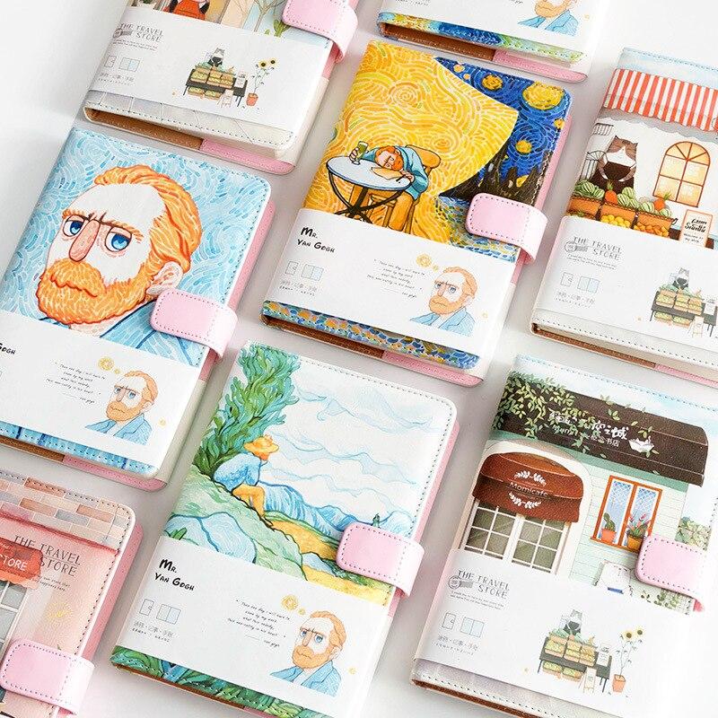 A5 Van Gogh lindo cuero bolsillo bala diario planificador Filofax diario semanal viajero cuaderno con páginas de colores papelería 6 estilos creativos A5 A6 A7 cuaderno de colores Índice Página mate cubierta espiral planificador diario papel nota libro páginas papelería
